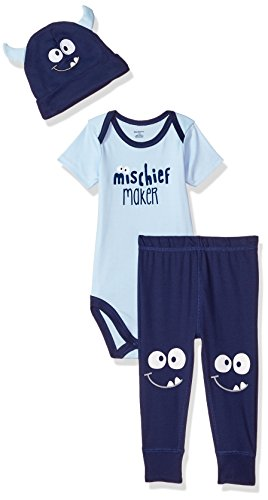 Gerber Baby Boys 3 Piece Bodysuit, Pant and Cap Set, Monster, 3-6 Months