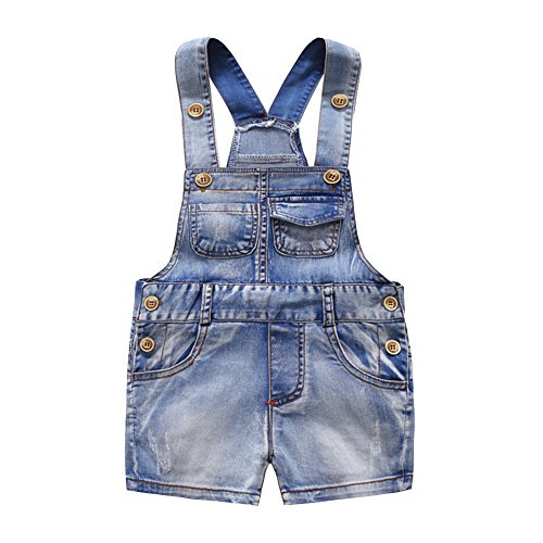 Kidscool Baby & Little Boys/Girls Cute Six Pockets Bib Denim Short Overalls, 6-12 Months