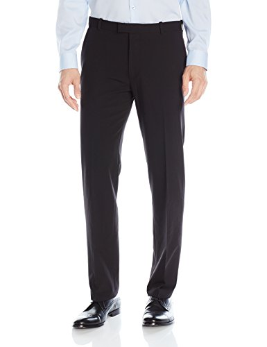 Van Heusen Men's Flex Straight Fit Flat Front Pant, Black, 32W x 30L