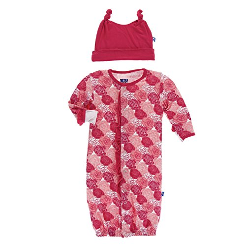 Kickee Pants Print Ruffle Layette Gown Converter and Double Knot Hat Set Roses (Preemie)