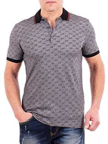 Gucci Polo Shirt, Mens Gray Short Sleeve Polo T- Shirt GG Print All Sizes (M)