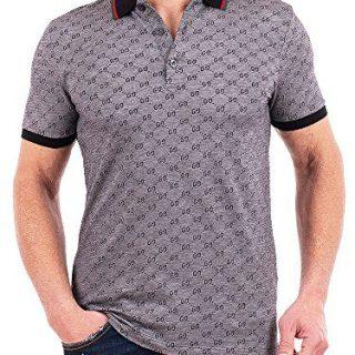 Gucci Polo Shirt, Mens Gray Short Sleeve Polo T- Shirt GG Print All Sizes (M)