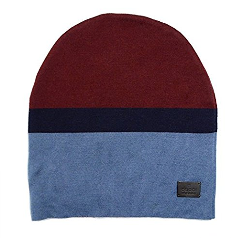 Gucci Men's Ski Burgundy Blue Wool Beanie Hat (Medium)