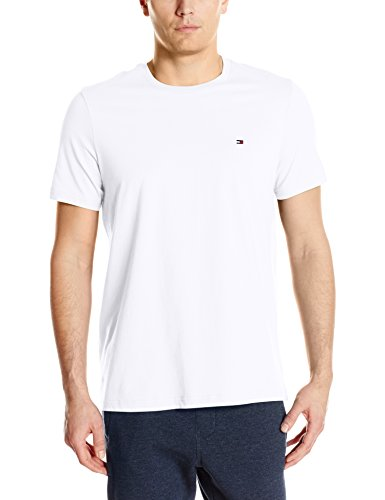 Tommy Hilfiger Men's Short Sleeve Crew Neck Flag T-Shirt, White, Medium