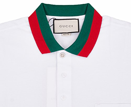 Gucci Mens Polo Shirt White with Green and Red Collar (L)