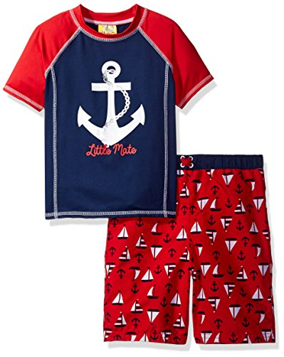 Baby Buns Little Boys' Sailaway Rashguard Swim Set, Multi, 6