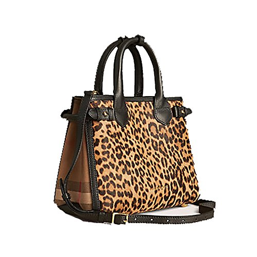 Tote Bag Handbag Authentic Burberry The Small Banner in Animal Print Calfskin, Made in Italy