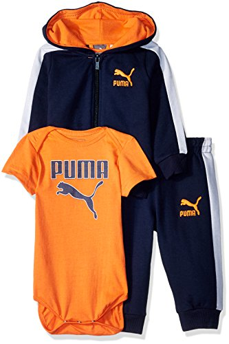PUMA Baby Boys Three Piece Hoodie Creeper Set, Deep Navy, 0-3 Months