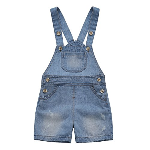 Kidscool Baby & Toddler Girls/Boys Big Bibs Ripped Summer Jeans Shortalls,Light Blue,12-18 Months