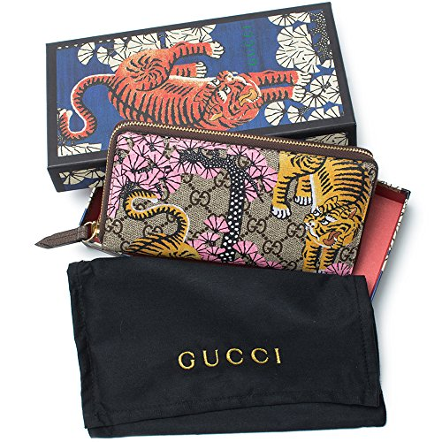 Gucci Bengal Pink Mixed Tiger Fabric leather Continental Wallet Zip Around New