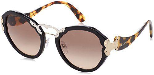 Prada Women's Black/Brown Gradient Grey Sunglasses