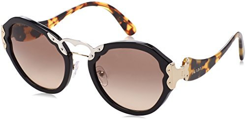 Prada Women's Black/Brown Gradient Grey Sunglasses