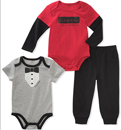 Calvin Klein Baby Boys' 3 Pieces Bodysuit Pant Set, Red/Black, 12M