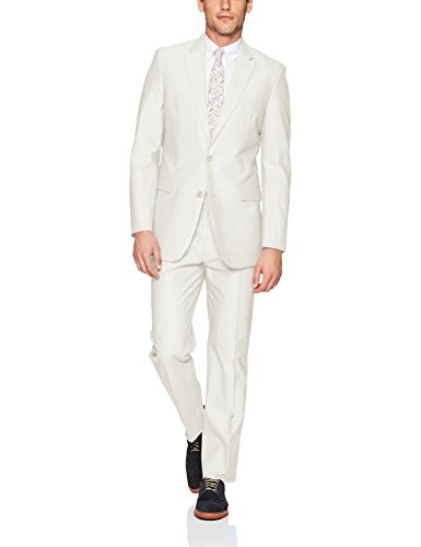 Tommy Hilfiger Men's Colby Single Breast Suit, White Solid, 42 Short