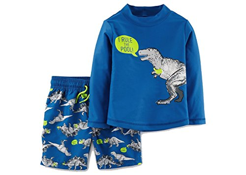 Just One You by Carters Toddler Boys' Dinosaurs Rule The Pool Long Sleeve Rash Guard Swim Set Blue, 3T