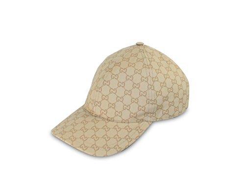 Gucci GG Coated Cotton Web Stripe Baseball Cap, Beige (L (Large))