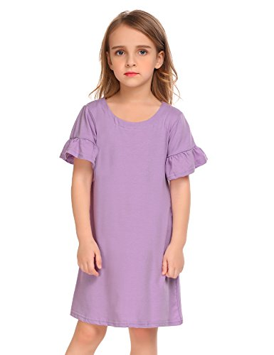 Arshiner Toddler Girls Flare Sleeve O-Neck V Back Solid Color Cotton Dress,Purple,100(Age for 3-4 years)