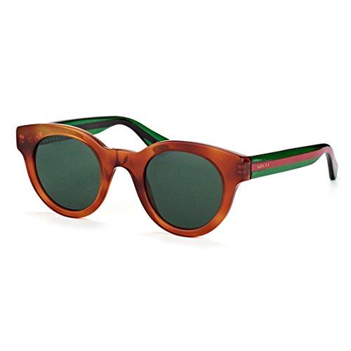 Gucci Havana Plastic Round Sunglasses Green Lens