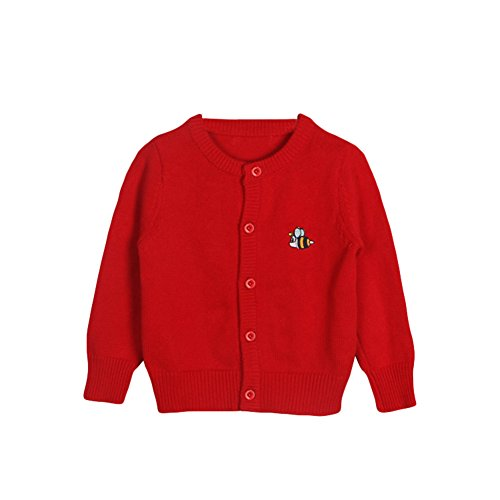 Baby Boys Girls 1-6T Crew Neck Button-down Bee Embroidery Cotton Knits Cardigan Button Sweaters Coat Jacket Outerwear (3 Years old/100cm, Red)