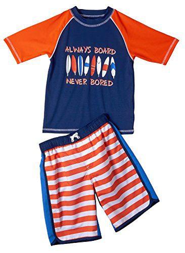 iXtreme Boys Short Sleeve Top Striped Swimsuit Bottom Rashguard Swimwear Set, Orange, 4T