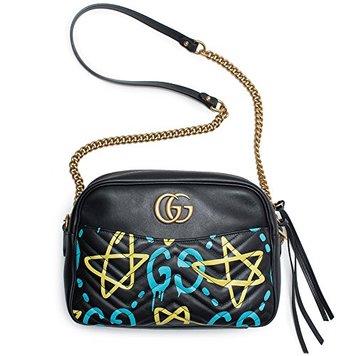 Gucci Ghost GG Marmont Black Graffiti Leather Shoulder Bag Handbag Italy New 1