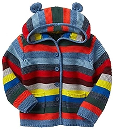 Baby Gap Factory Boys Crazy Stripe Bear Hoodie Cardigan Sweater 0-3 Months