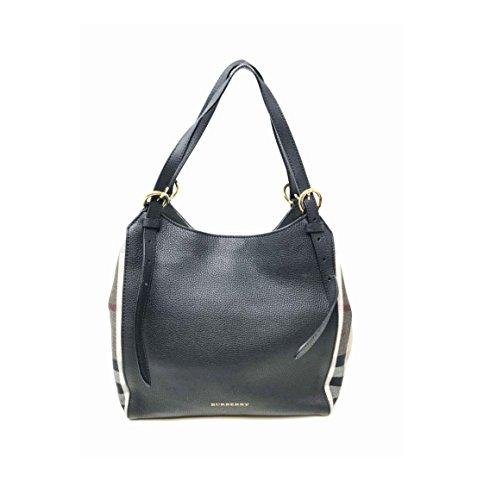 Burberry Womens Canterbury Leather House Check Tote Handbag Black Small