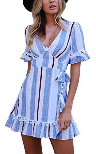 Angashion Women's Dresses-V Neck Striped Short Sleeve Ruffle Hem Mini Skater T Shirt Dress Blue XL