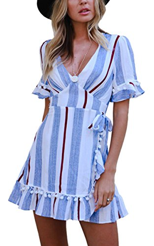 Angashion Women's Dresses-V Neck Striped Short Sleeve Ruffle Hem Mini Skater T Shirt Dress Blue XL