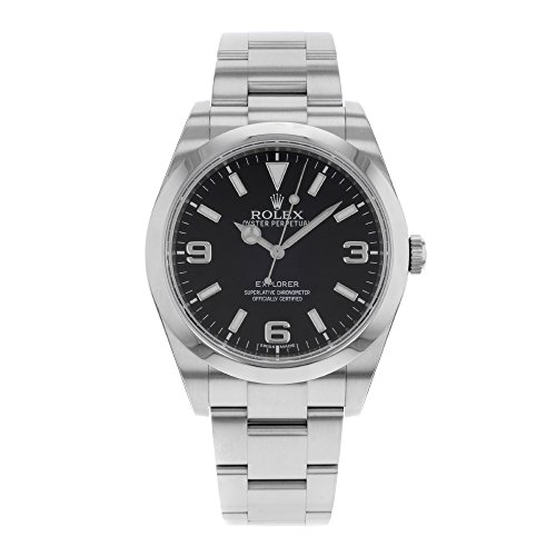 Rolex Explorer Black Dial Stainless Steel Rolex Oyster Automatic Mens Watch