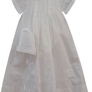 Feltman Brothers Infant Baby Boys White Embroidered Christening Gown Bonnet Set -6M to 9M