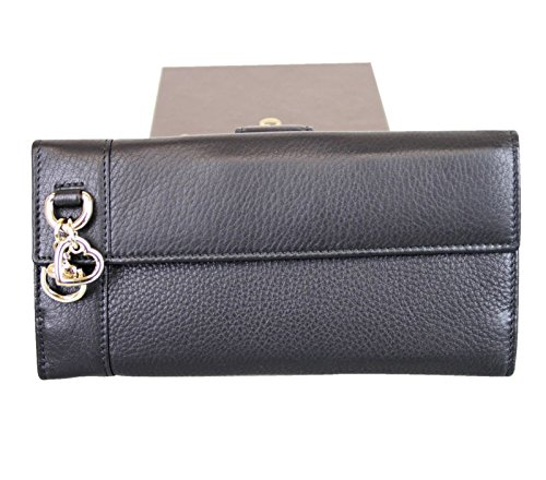Gucci Women's Continental Black Leather Charm Wallet