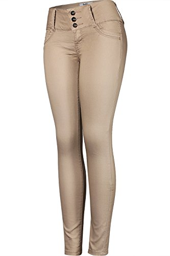 0835ed163d2e8 Home Shop Women Clothing Jeans 2LUV Women's 3 Button Stretchy Uniform Pants  Skinny Color Jeans Khaki Circles 9