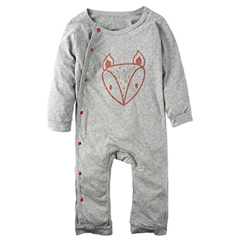 BIG ELEPHANT Baby Boys'1 Piece Long Sleeve Bodysuit Rompers Grey K08-90(12-18 Months)