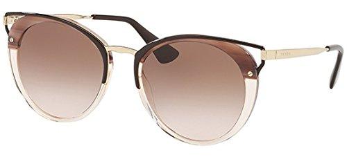 Prada Women's Round Cat Sunglasses, Striped Brown/Brown, One Size