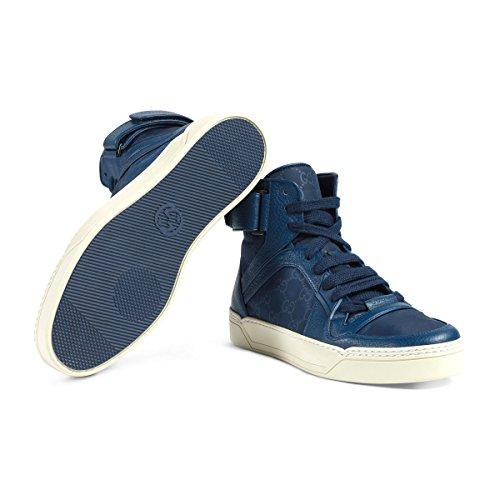 Gucci Men's Nylon Guccissima High-Top Sneaker, Blue (10 US/9.5 UK)