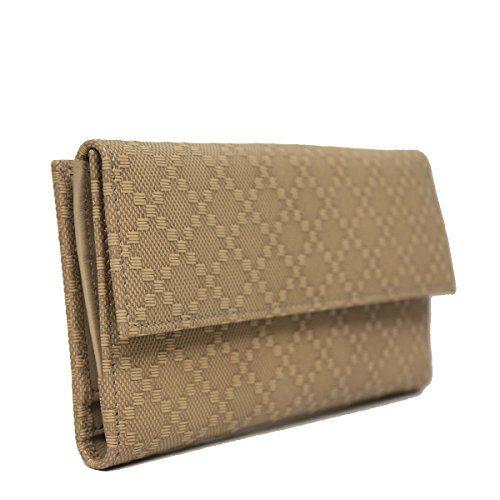 Gucci Beige Leather Diamante Snap Closure Continental Wallet