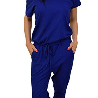 Junior Cotton Short Sleeve 1 pc Nine Pant Sets Blue Romper Jumpsuit for Running Wear