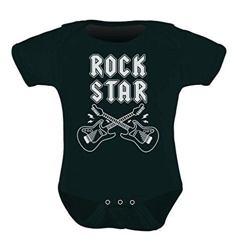 Rock Star Unisex Infant Grow Vest Boy Girl Baby Bodysuit Newborn Black