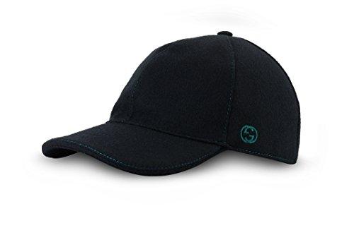 56a8f920 Gucci Signature Web Stripe Wool Baseball Cap, Black (Nero), (M ...