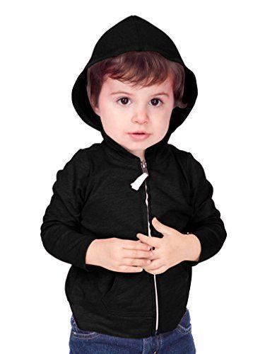 Kavio! Unisex Infants Jersey Long Sleeve Zip Up Hoodie Black 12M