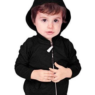 Kavio! Unisex Infants Jersey Long Sleeve Zip Up Hoodie Black 12M