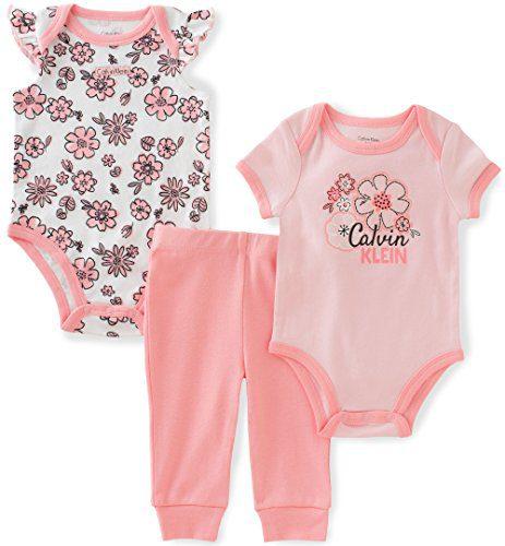 Calvin Klein Baby Girls' 3 Pieces Bodysuit Pant Set, Floral, 6/9M