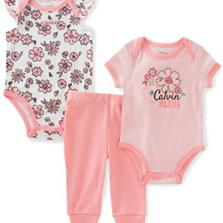 Calvin Klein Baby Girls' 3 Pieces Bodysuit Pant Set, Floral, 6/9M