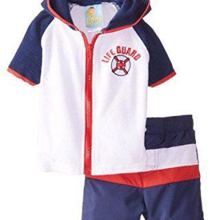 Baby Buns Infant Boys 2 Piece Life Guard Cover Up & Swim Trunks Set 18m