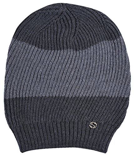 Gucci Gray 100% Wool Interlocking GG Baggy Beanie Hat