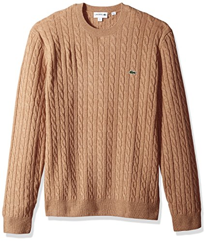 Lacoste Men's Cable Stitch Wool Sweater-with Green Croc, Renaissance Clair, Large
