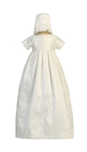Silk HeirloomGown with Two Hats (Boy and Girl) Christening Baptism Special Occasion Family Outfit with Two Matching Hats - M (6-12 Month, 13-17 lbs)