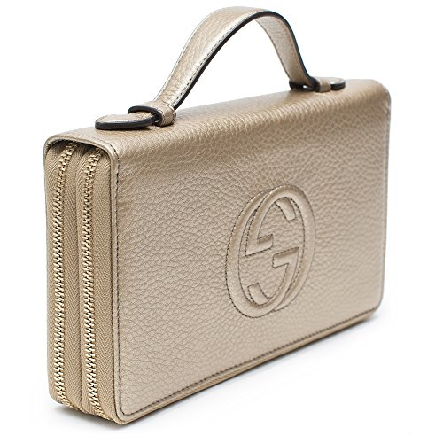 Home Shop Women Accessories Handbags   Wallets Gucci Soho Golden Beige Wallet  Double Zip Clutch Travel Leather Bag Flat Italy New 01ed6ba196b14