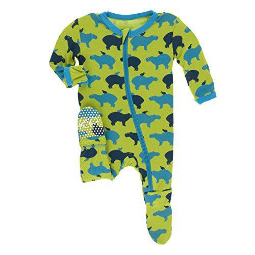 Kickee Pants Little Boys Print Footie with Zipper - Meadow Capybara, 3-6 Months